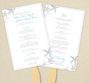 DIY Custom Wedding Program Fan - Starfish and Sand Dollars Customized Printable PDF