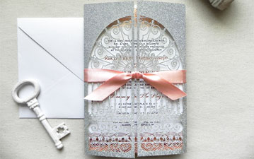 Silver Glitter and Rose Gold Foil Stamp Art Deco Door